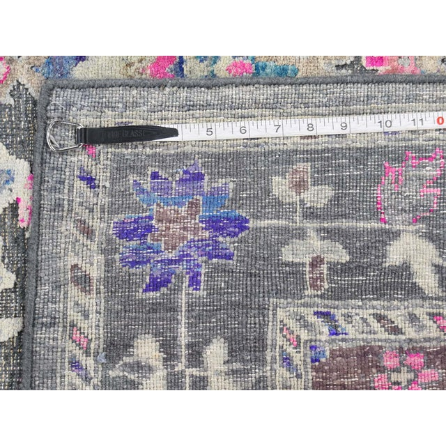 Sari Silk With Oxidized Wool Hand Knotted Oushak Runner- 8′1″ × 10′2″ For Sale - Image 12 of 13