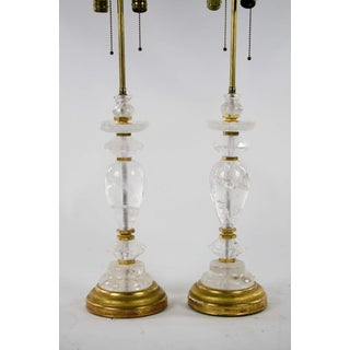 Neoclassical Rock Crystal Two Light Table Lamps - a Pair Preview
