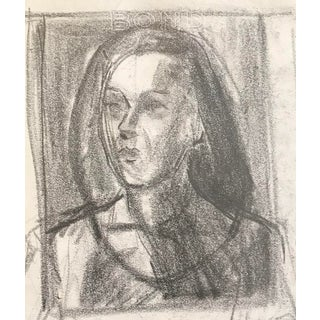 Mid-Century Modern Portrait of a Lady Drawing C. 1950 For Sale