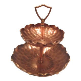 Mid-Century Double Layered Hammered Copper Serving Tray For Sale