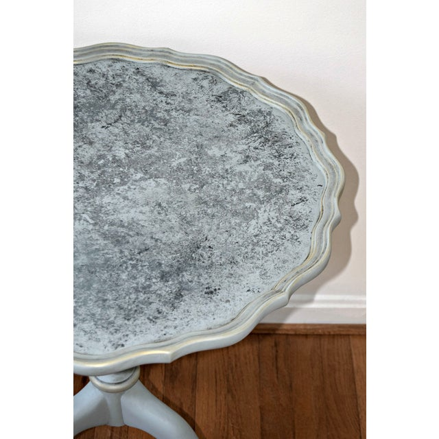 Shabby Chic 20th Century Shabby Chic Pie Crust Trim Gray Side Table For Sale - Image 3 of 9