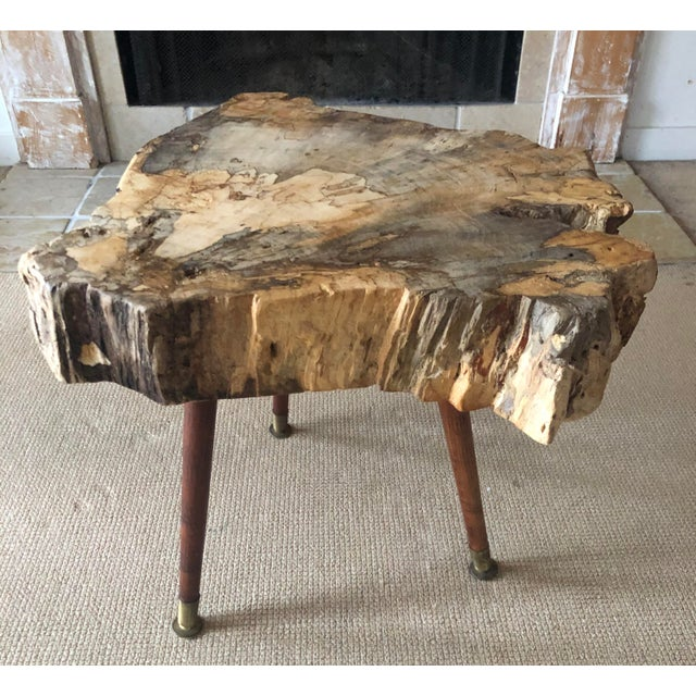 Wood Live Edge Coffee Table Burl Wood Mid Century Style For Sale - Image 7 of 11