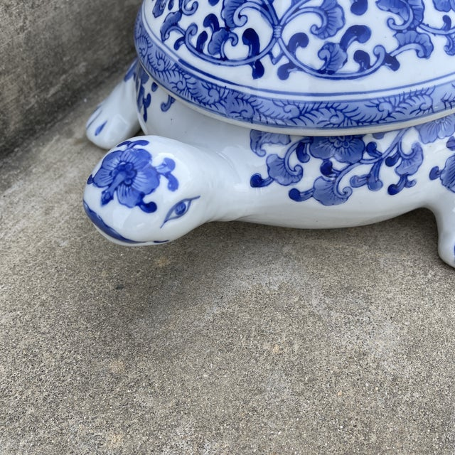 Large Chinese Blue and White Turtle Tureen For Sale - Image 10 of 11