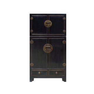 Chinese Distressed Black Lacquer MoonFace Compound Cabinet For Sale