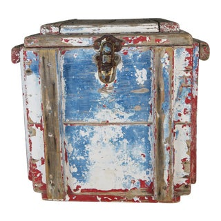 Painted Wood Work Box W/ Metal Clasp and Handles For Sale