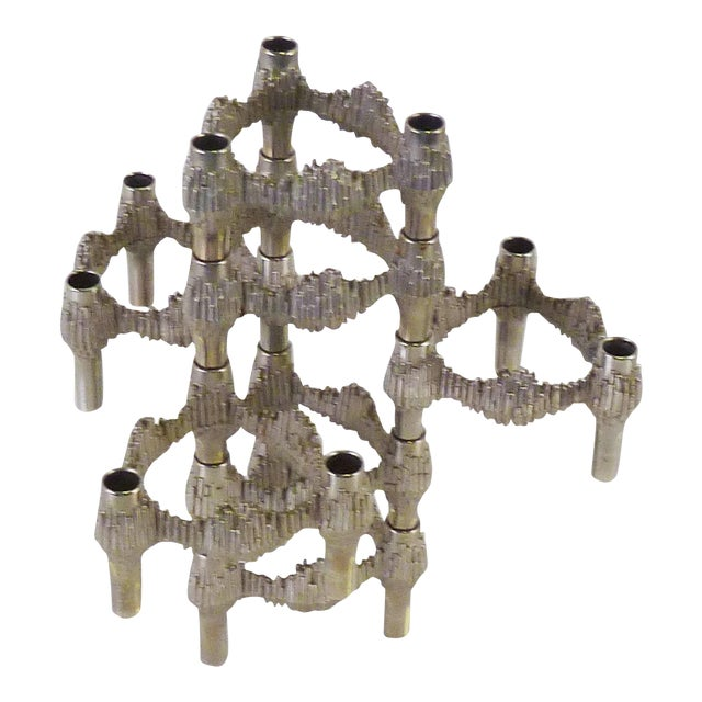 Germany 1970s Nagel Brutalist Stacking Quist Variomaster Candleholders - 7 Pc. Set For Sale