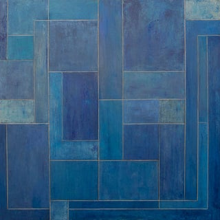 Geometric Abstract Blue Square Painting by Stephen Cimini For Sale