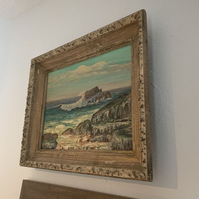 1960s Rocky Beach Seascape Oil Painting, Framed For Sale In Denver - Image 6 of 12
