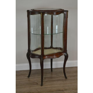 French Louis XV Style Antique Mahogany Curved Glass Vitrine Display Cabinet Preview