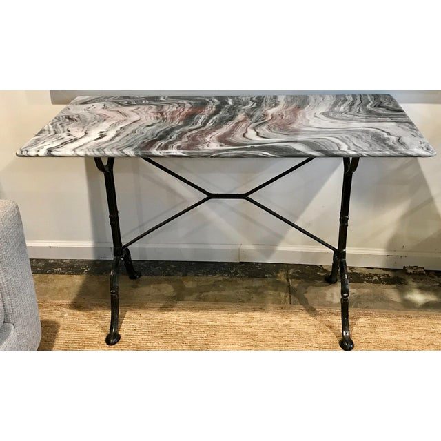 1920s French Marble Top Iron Base Console For Sale - Image 10 of 10