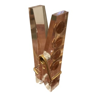 1970s Pop Art Lucite & Brass Clothespin Paper Weight For Sale