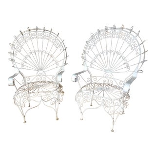 Vintage Wrought Iron Wire Peacock Chairs - A Pair