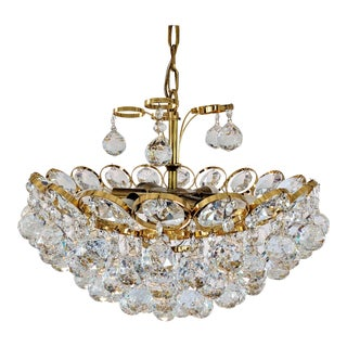 1970s Crystal and Gilt Brass Chandelier by J. L. Lobmeyr For Sale