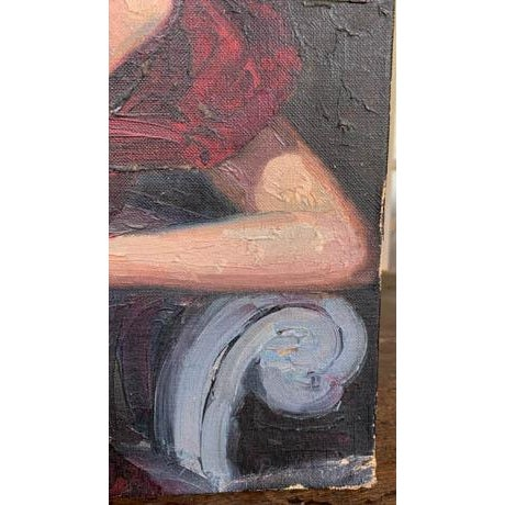 Mid 20th Century 1940's Lady Painting, Portrait - Red Velvet For Sale - Image 5 of 7