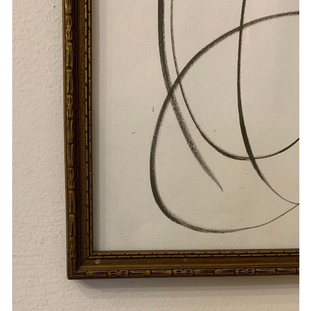 Abstract Contemporary Abstract Black and White Ink Drawing, Framed For Sale - Image 3 of 4