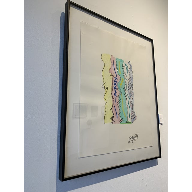 Abstract 1980s Postmodern Mixed Media Drawing For Sale - Image 3 of 8