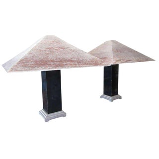 Pair of Architectural Ceruse Lamps For Sale