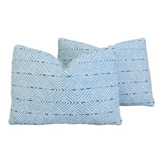 "Blue & White Kravet Fabric Feather/Down Pillows 22"" X 16"" - Pair For Sale"