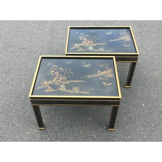 Drexel Sketchbook Chinoiserie Style Black and Gold Lacquer End Tables - a Pair Preview
