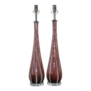 Vintage Murano Glass Table Lamps Purple For Sale