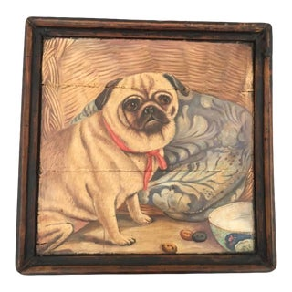 Antique Wood Tray W/Pug Dog Portrait Painting For Sale