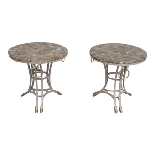 20th Century Italian Wrought Iron Marble-Top Gueridon Tables - a Pair For Sale