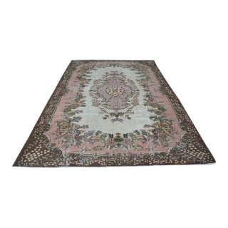 1960s Vintage Turkish Oushak Hand-Knotted Rug - 6′10″ × 10′6″ For Sale