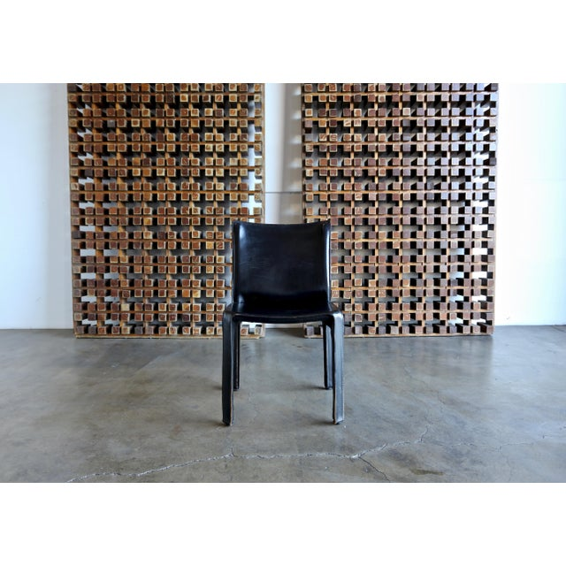 """Black Black Leather """"Cab"""" Chair by Mario Bellini for Cassina For Sale - Image 8 of 11"""