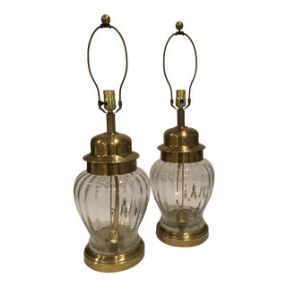 Vintage Tyndale Aged Brass and Glass Lamps - a Pair For Sale