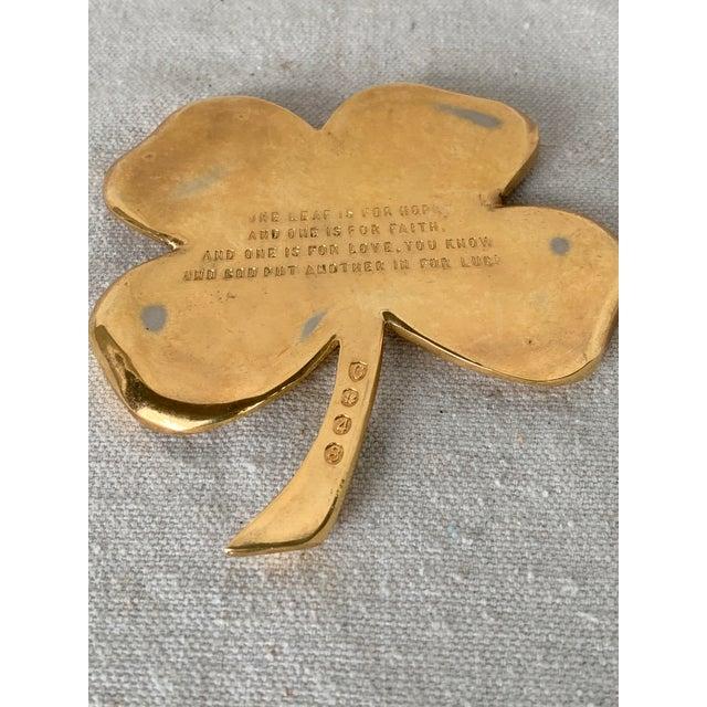 1990s Vintage Gold Four Leaf Clover For Sale - Image 5 of 10