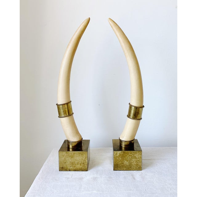 1970s Chapman Faux Tusk Brass Bookends - a Pair For Sale - Image 5 of 5