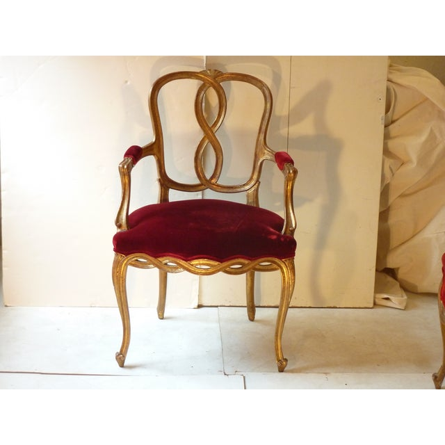 French Early 20th Century Vintage French Ribbon Back Giltwood Armchairs- A Pair For Sale - Image 3 of 11
