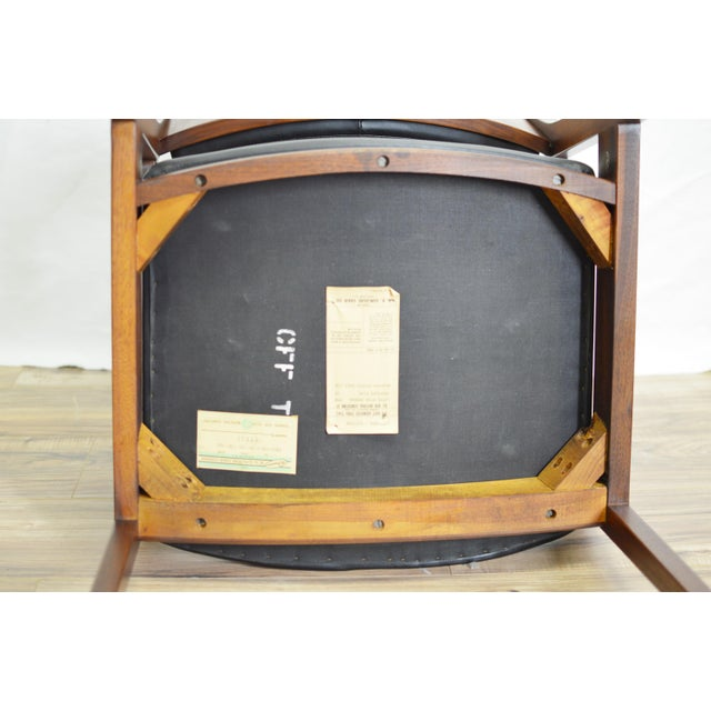 Black Vintage Teak Black Leather Gunlocke Chair For Sale - Image 8 of 10