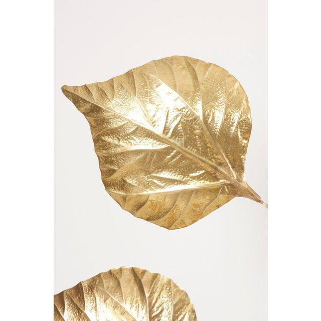 1 of 2 Huge Three Rhubarb Leaves Brass Floor Lamp by Tommaso Barbi For Sale - Image 12 of 13