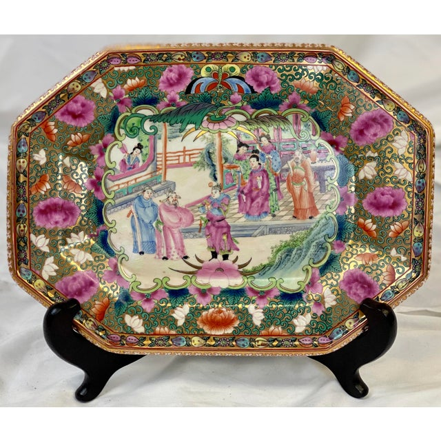 Stunning Traditional Famille Rose Decorative Platter and Stand depicting Social Scenes and Elaborate Floral / Scroll Border