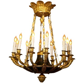 Antique d'Ore Bronze Empire Chandelier For Sale