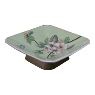Quality Asian Artist Hand Painted Porcelain Tall Base Display Dish