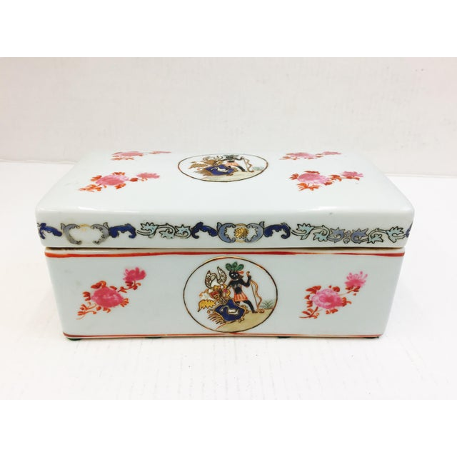 Stunning Vintage Hand Painted Porcelain Box. Beautiful Coloring. Rectangular in shape. Terrific Container for office or...