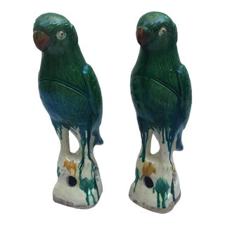 Majolica Green & White Parrots - A Pair