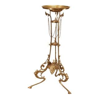 Antique Brass Renaissance Style Pedestal Plant Stand For Sale