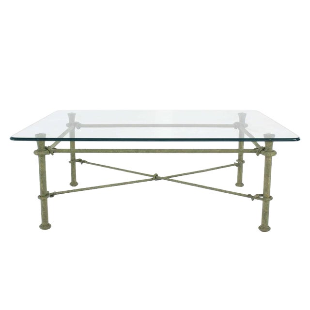 Glass Top Coffee Table With Iron Base: Incredible Rectangle Wrought Iron Base Glass Top Coffee