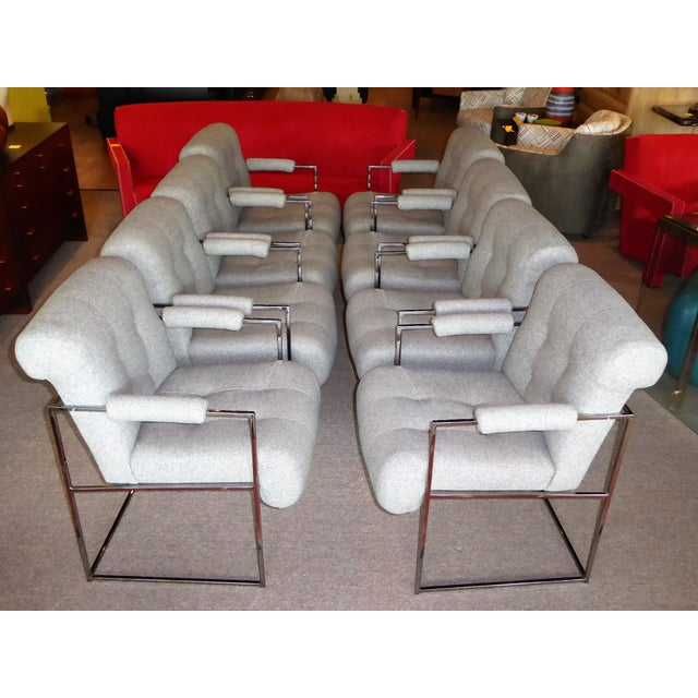 Eight Plush Modern Milo Baughman Thin Line Armed Dining Chairs - Image 9 of 11