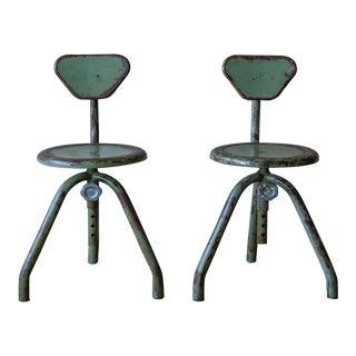 Green Italian Vintage Industrial Stools - A Pair