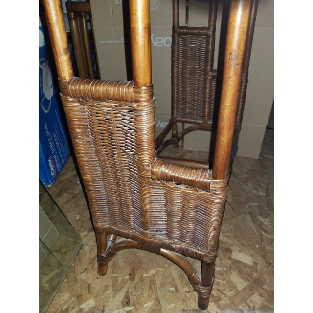 Bamboo rattan quilt blanket towel clothes rack. A piece like this is very hard to find in bamboo rattan Great for end of...