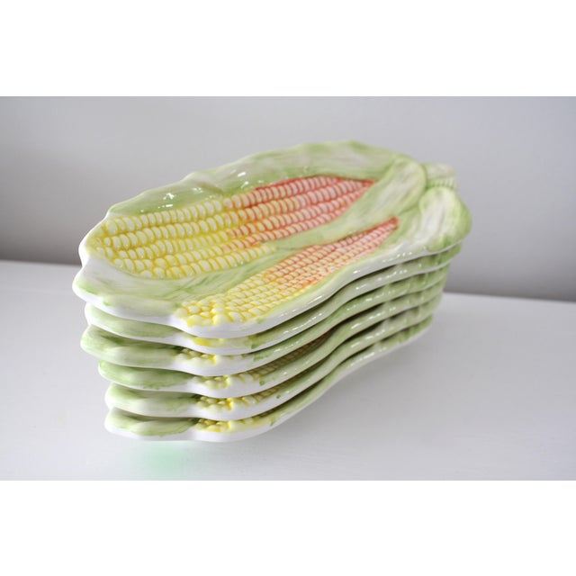Mid 20th Century Vintage Italy Majolica Corn on the Cob Dishes - Set of 6 For Sale - Image 5 of 13