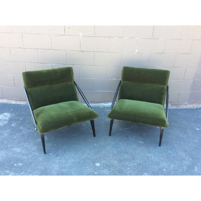 """1950s wood and mohair side chairs. Very unusual and definitely make a statement! In very good condition. Mohair is """"as..."""