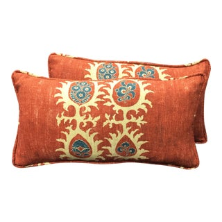 Carlton V Orange Lumbar Pillows - a Pair