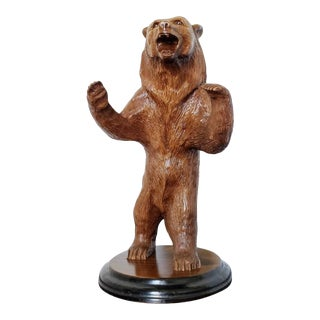 Swiss Black Forest Carved & Lacquered Bear Statue For Sale