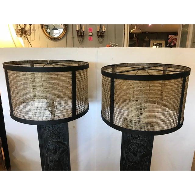 Late 19th Century Antique Iron Table Lamps - A Pair For Sale - Image 10 of 13