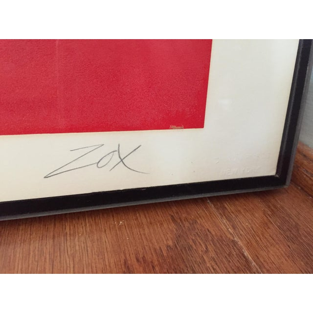 Modern Larry Zox Diamond Drill Scarlet Serigraph For Sale - Image 3 of 6